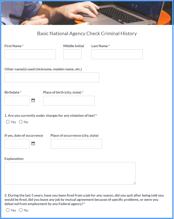 Criminal History Record Forms