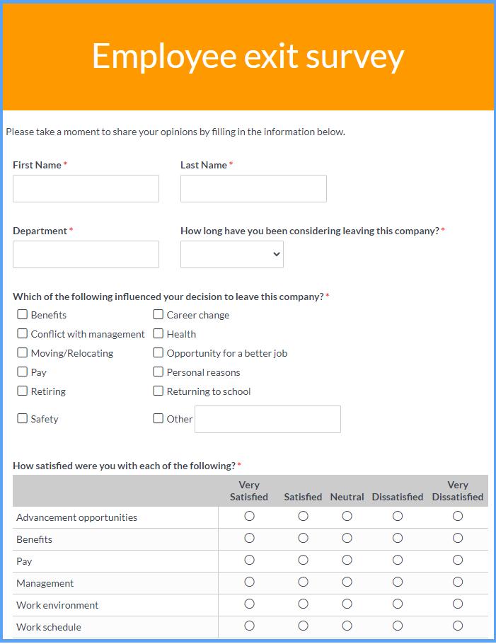Exit Survey Templates