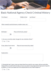 Criminal History Record Form