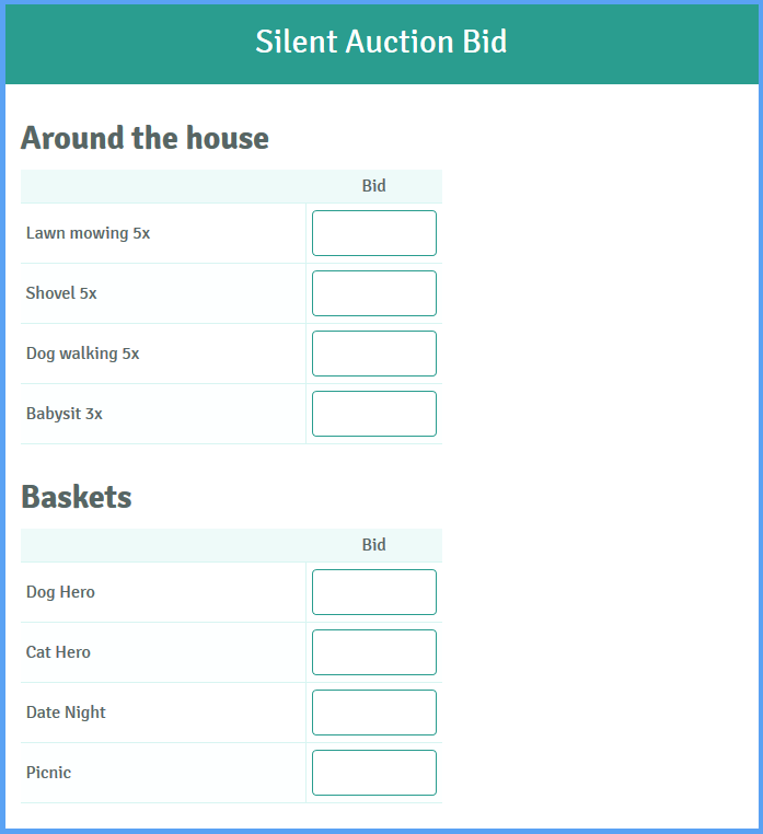 Auction Bid Template