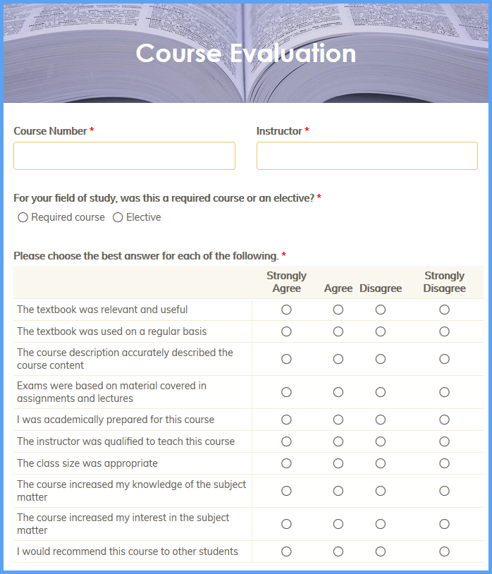 Course Evaluation Templates