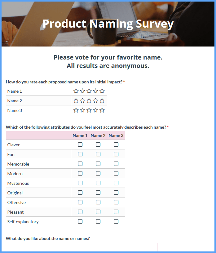 Product Naming Survey Templates
