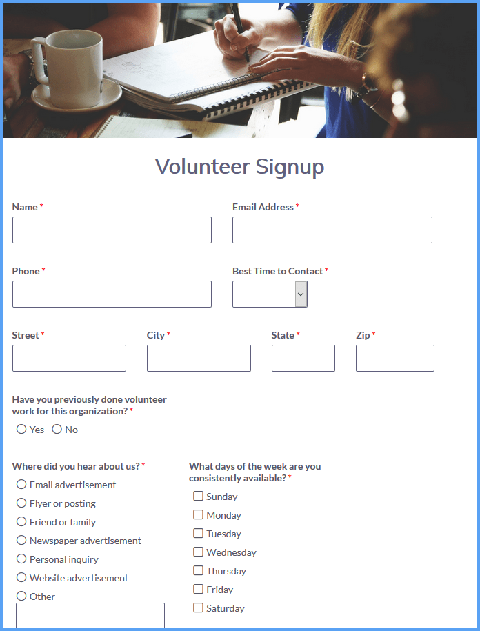 Volunteer Registration Templates
