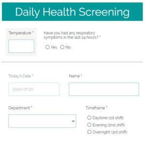 Formsite Health Screening example