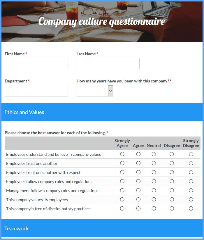 Company Culture Evaluation Forms