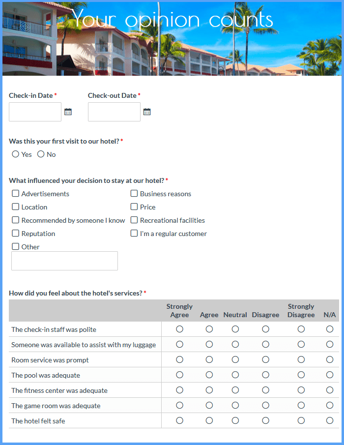 Hotel Evaluation Forms