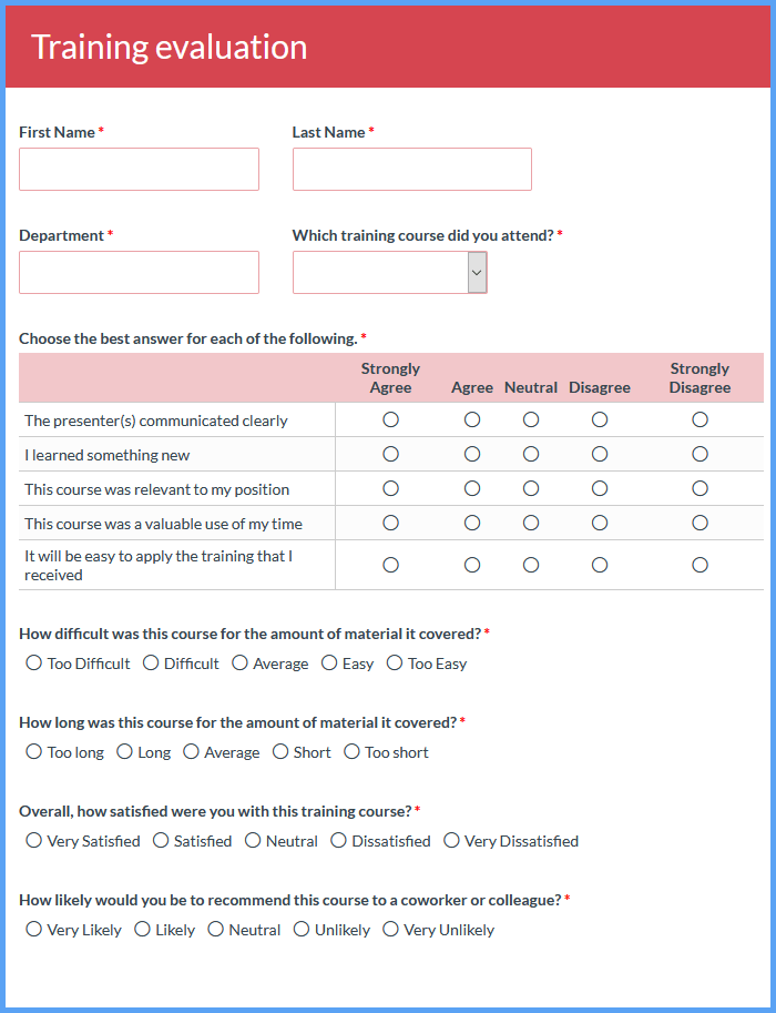 Training Evaluation Forms