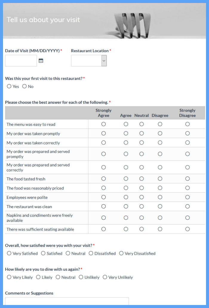 Fast Food Customer Satisfaction Surveys