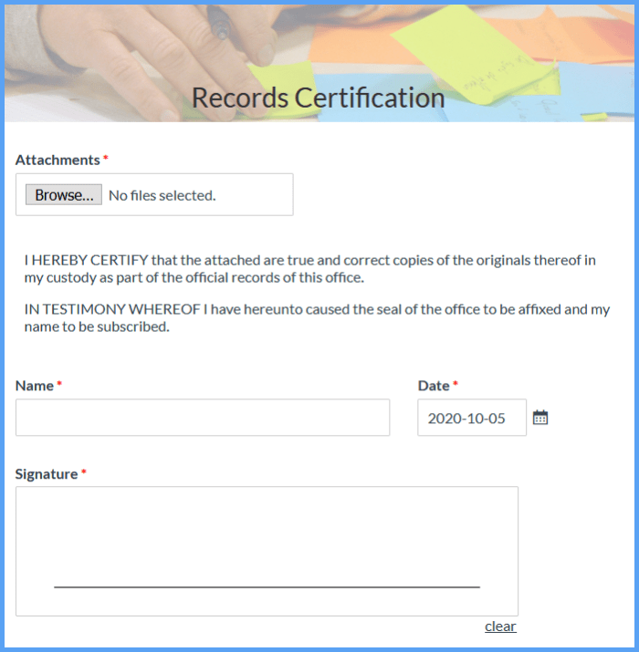 certification formsite records form templates