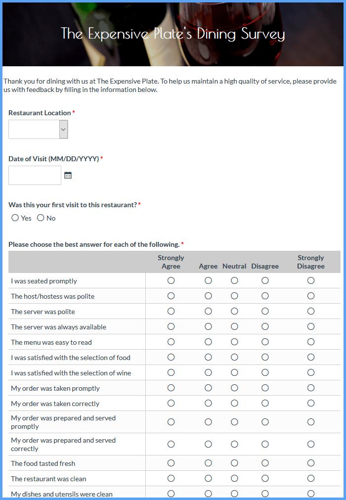 Restaurant Customer Satisfaction Forms