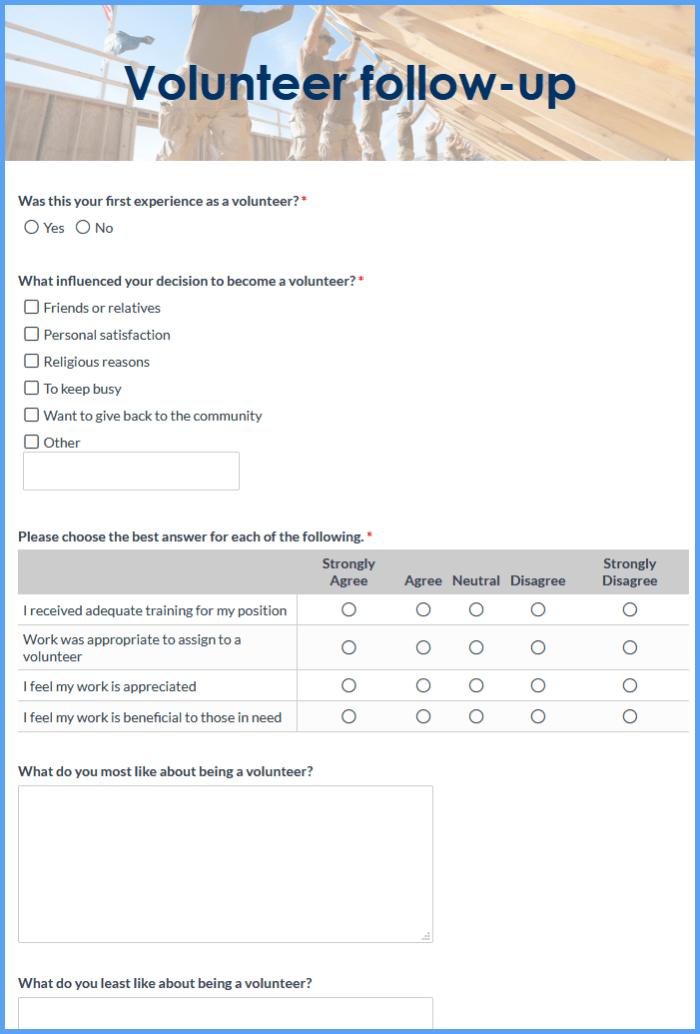 Volunteer Satisfaction Forms