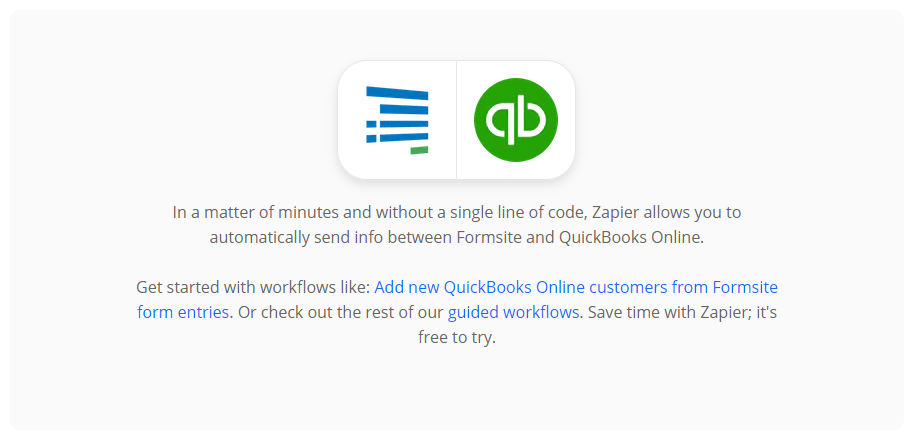 Formsite integrations search quickbooks