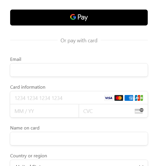 Formsite Stripe payment methods