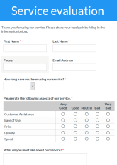 General Service Evaluation Form