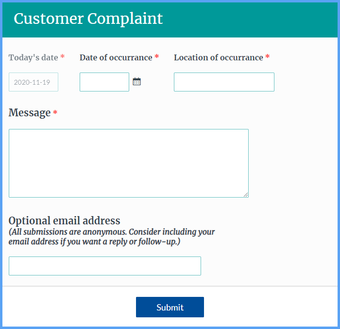 Customer Complaint Forms