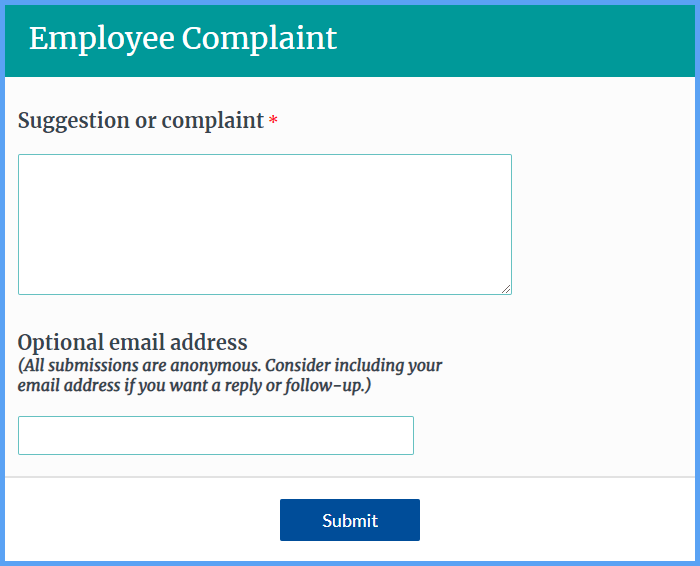 Employee Complaint Forms
