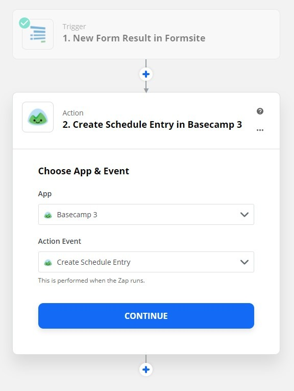 Formsite Basecamp Zap settings