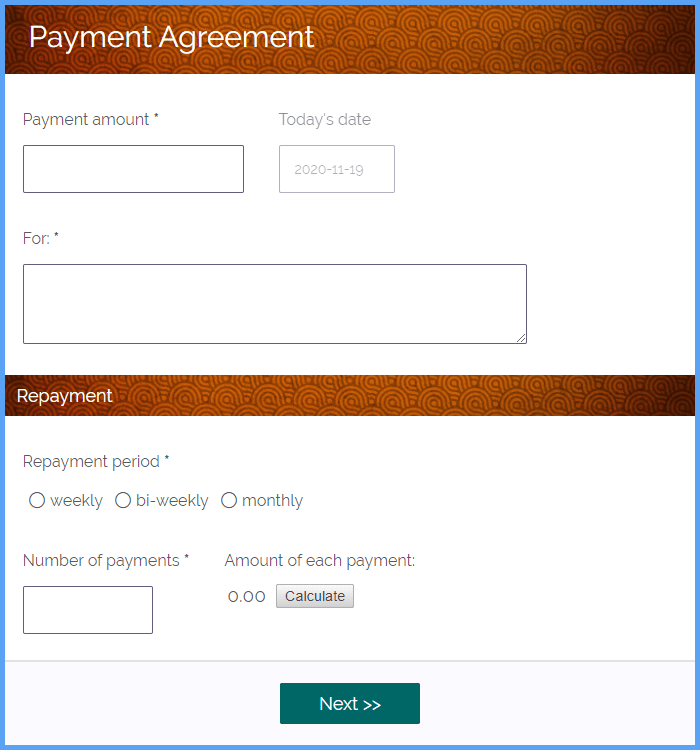 Payment Agreement Forms