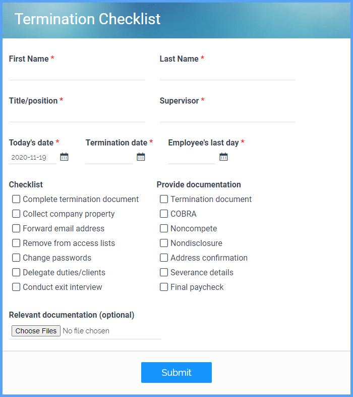 Termination Checklist Forms