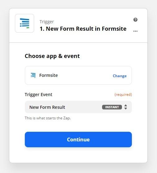 Formsite Facebook Messenger Zap trigger