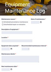 Equipment Maintenance Log Form