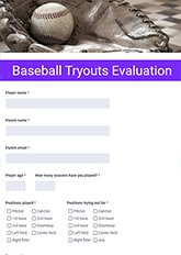 Baseball Tryouts Evaluation Form