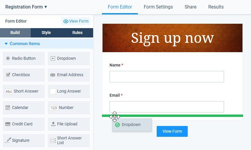 Formsite registration form drag and drop builder