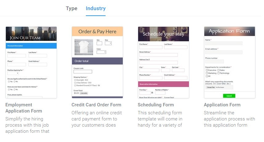 Formsite registration form templates