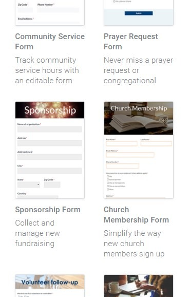 Formsite church membership examples