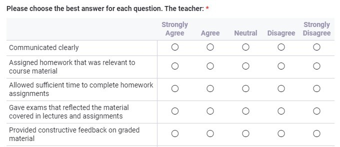 Formsite feedback forms Likert scale