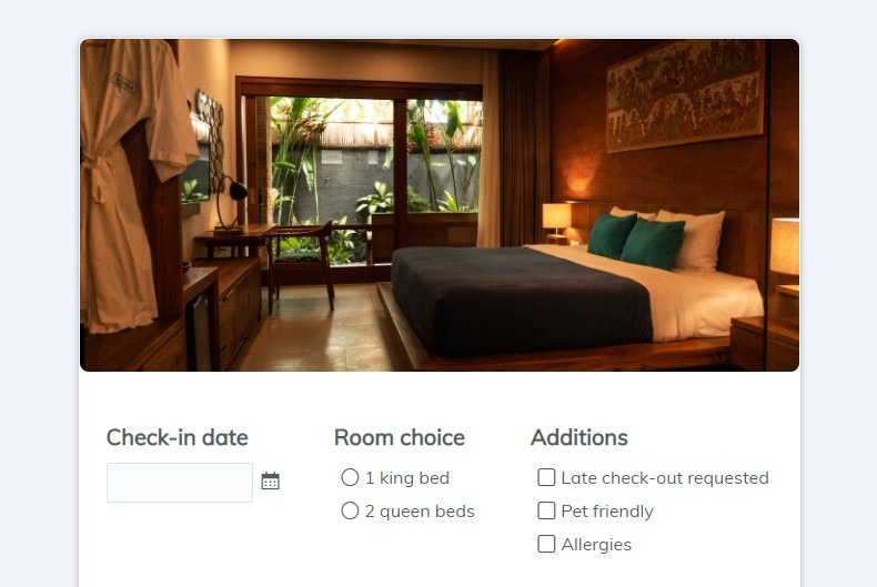 Formsite hotel reservation form example