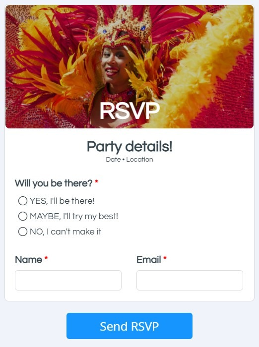 Formsite RSVP forms example