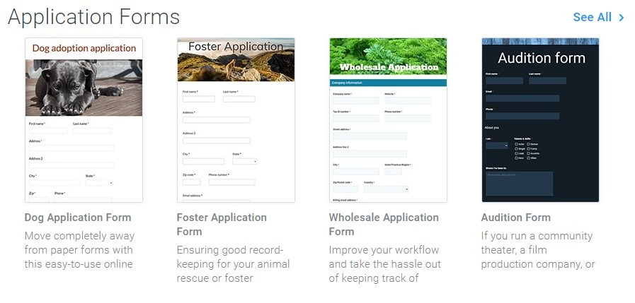 Formsite application form templates