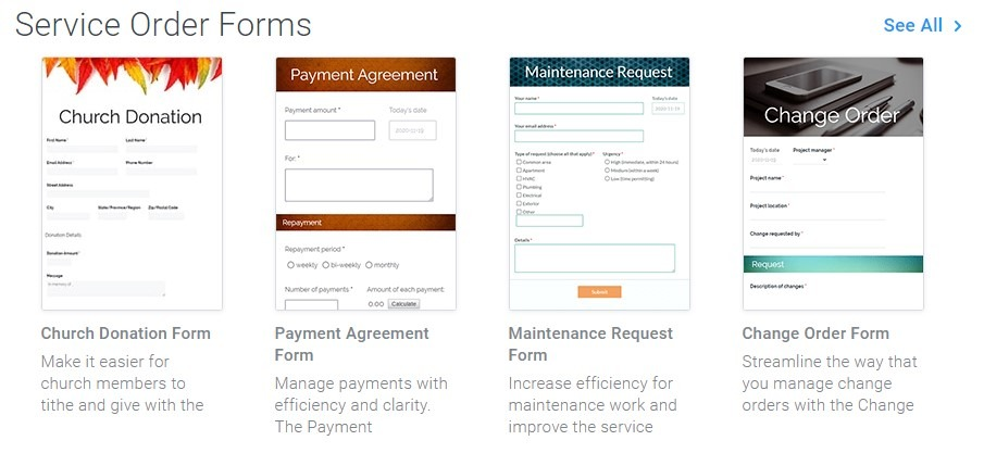 Formsite order form templates