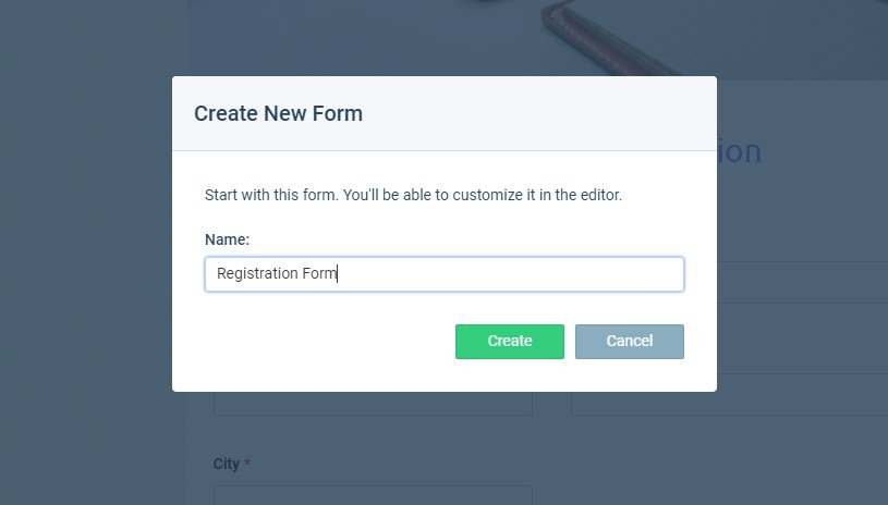 Formsite registration form create new