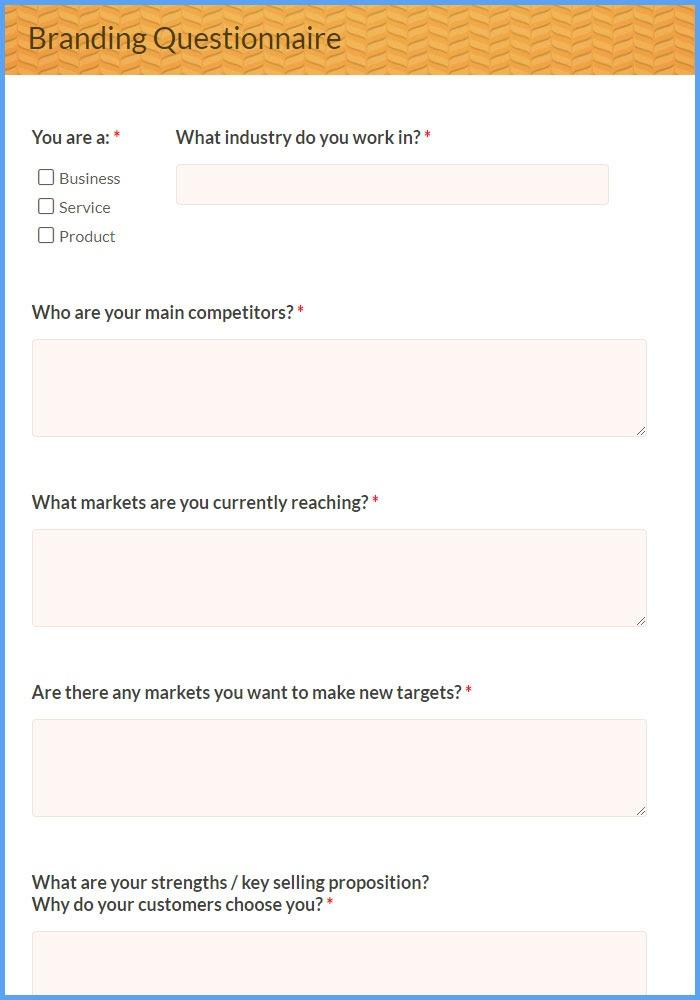 Branding Questionnaire Forms