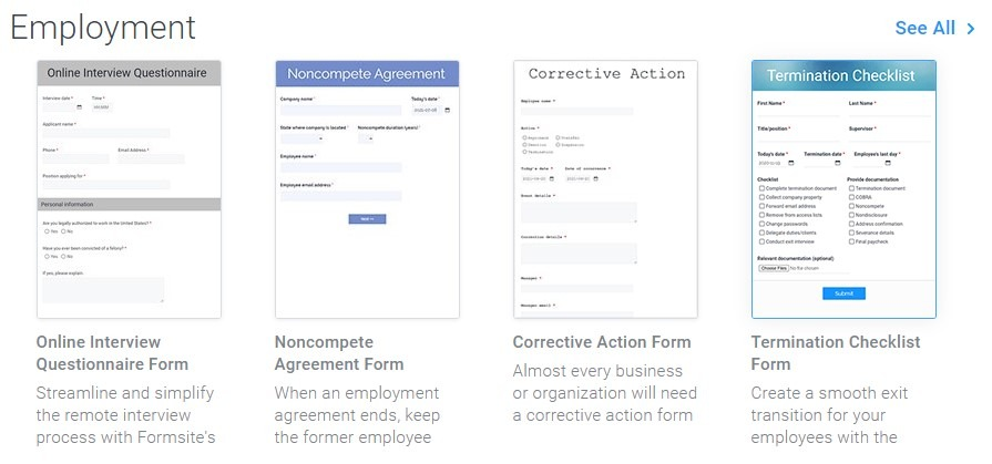 Formsite employment forms templates