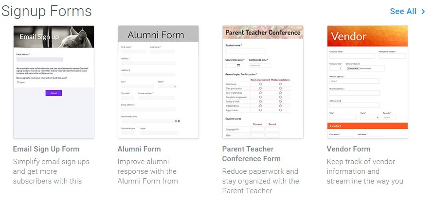 Formsite sign up form templates