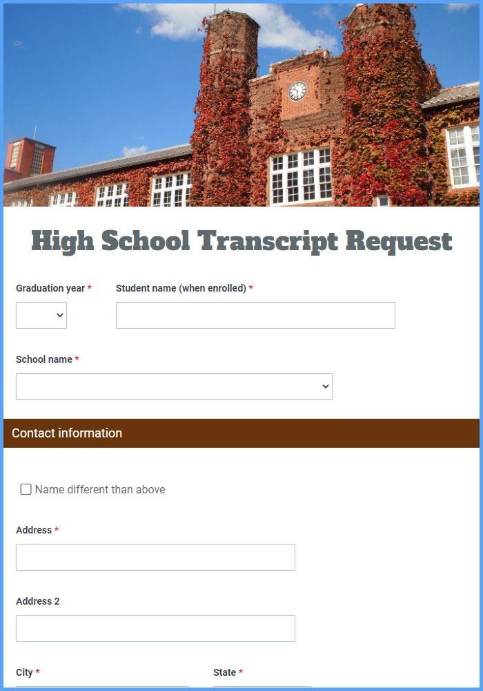 High School Transcript Request Forms