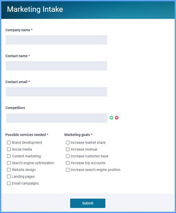 Marketing Intake Forms