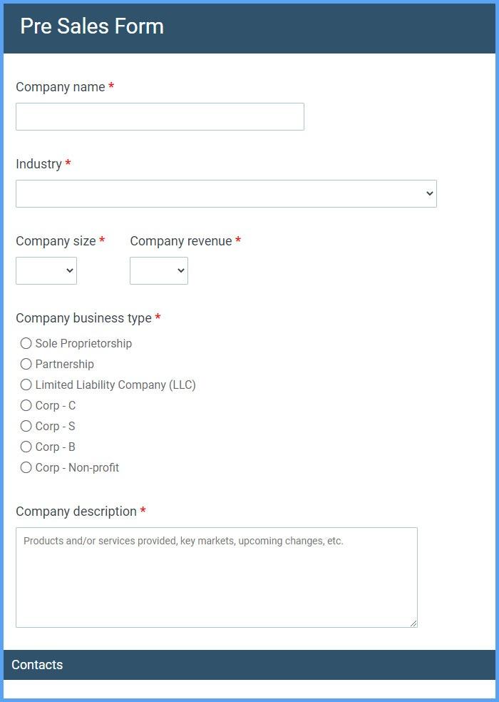 Pre Sales Forms