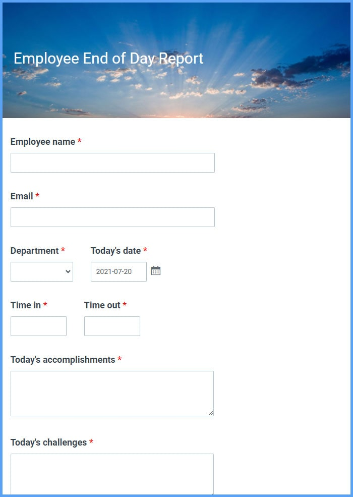 Employee End of Day Report Forms