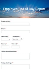 Employee End of Day Report Form