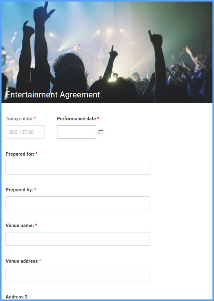 Entertainment Agreement Forms