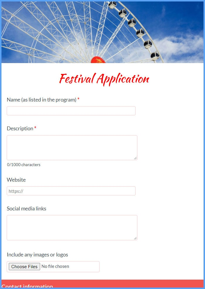 Festival Application Forms
