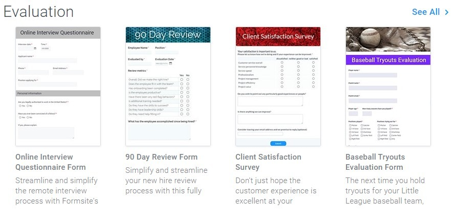 Formsite evaluation form templates
