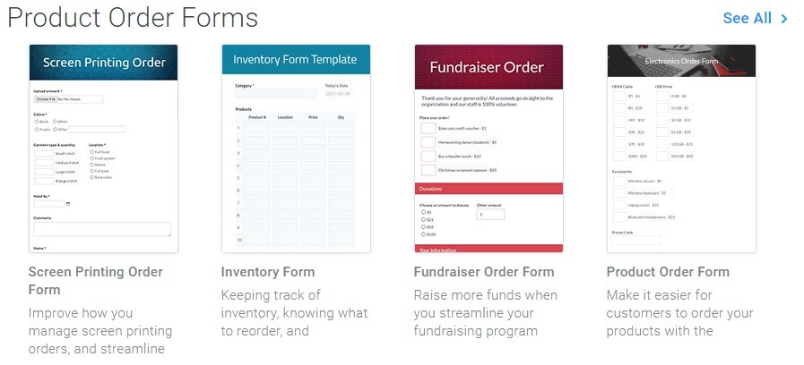 Formsite PayPal order form templates
