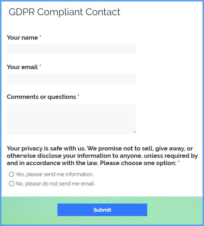 GDPR Compliant Contact Forms
