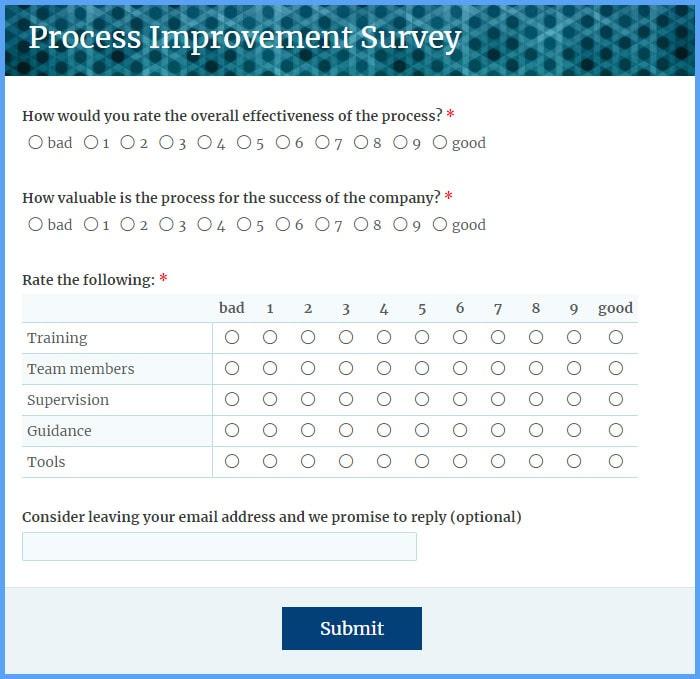 Process Improvement Survey Forms