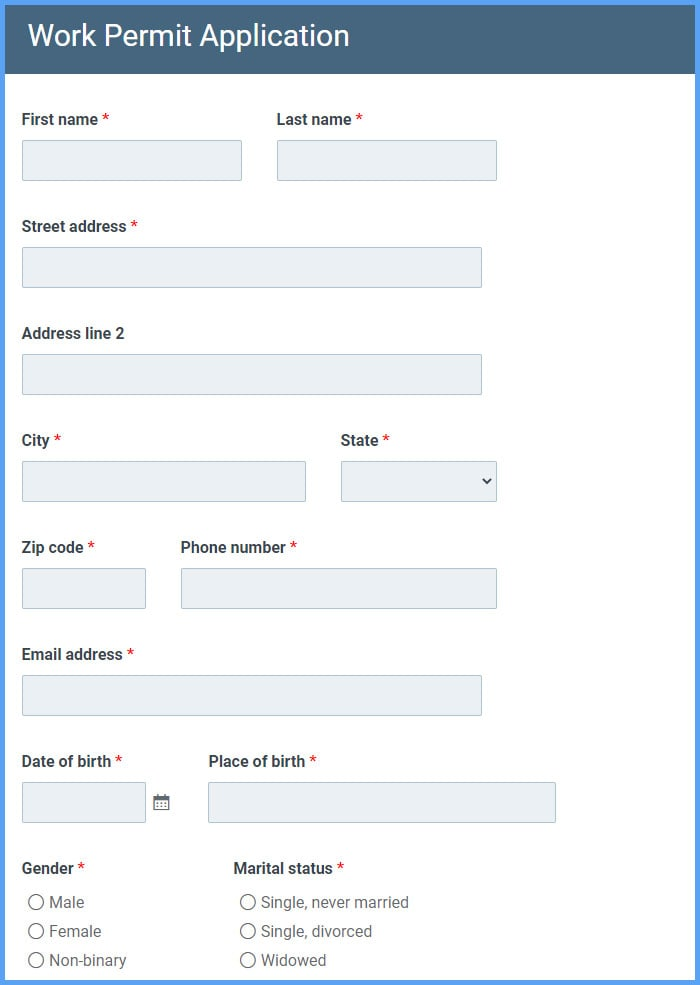 Work Permit Application Forms